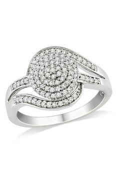 1/3 ct Diamond Fashion Swirl Ring in Silver