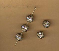 vintage AB rhinestone beads beadball crystal by beadtopiavintage