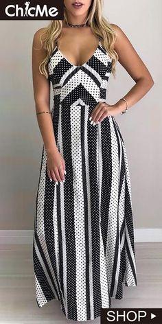 chicme / Dot & Striped Lace-Up Back Vestido Maxi Side Slit Maxi Dress, Maxi Shirt Dress, Maxi Dress With Sleeves, Buy Dress, Maxi Robes, Online Dress Shopping, Women's Fashion Dresses, Maxi Dresses, Evening Dresses