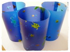 3x Windlicht Tischlicht Transparentpapier Fische