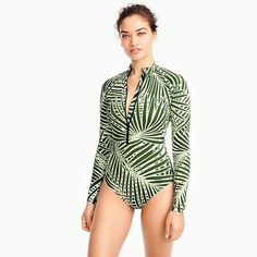 58ccba97fe J.Crew Long-sleeve one-piece swimsuit in palm leaf print Striped Maxi