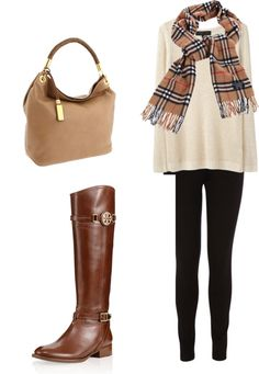 Casual. Long white knit sweater over black leggings. Paired with tall brown leather boots, Burberry scarf and tan hobo bag.