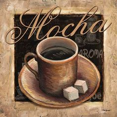 Mocha Canvas Art - Todd Williams x Coffee Cup Drawing, Coffee Art, My Coffee, Vintage Coffee Cups, Vintage Tea, Mocha, Mago Tattoo, Coffee Label, Cupcake Pictures