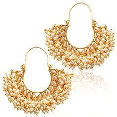 The Jewelbox Chaand Gold Plated Pearl Bali Earring For Women