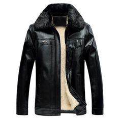 52.55$  Buy now - http://di2fs.justgood.pw/go.php?t=198364211 - Faux Fur Collar Pocket Design PU Jacket