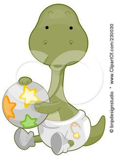 Royalty-Free (RF) Clipart Illustration of a Cute Baby Brontosaurus Dino Holding A Ball And Wearing A Diaper by BNP Design Studio