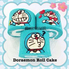 Doraemon Paint Roll Cake^_^ รับทำ Roll Cake ตาม Order ค่ะ ที่ ร้านอาหาร Bakeryhouse 101 Sukhumvit101/1 Swiss Roll Cakes, Swiss Cake, Pretty Cakes, Cute Cakes, Pitaya, Japanese Roll Cake, Doraemon Cake, Jam Roll, Cookie Bakery