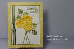 Birthday Wishes card using Flowers & Frames stamp set by Gina K. Background paper- Gina K. Birthday Essentials paper pack. Ribbon & clear stones are from my stash.