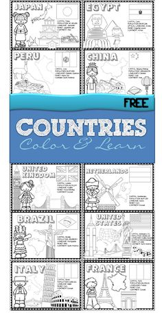 Countries - FREE printable color and learn about 18 countries from all around the world - use as coloring sheets or make a book for preschool, kindergarten, grade, grade, grade Geography Activities, Geography For Kids, World Geography, Educational Activities, 2nd Grade Geography, Geography Quotes, Continents Activities, Geography Lesson Plans, Teaching Geography Elementary