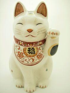 <猫雑貨 招き猫>陶彩 万福唐草招き猫(左大)