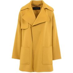 Barbara Bui Coat (€1.380) ❤ liked on Polyvore featuring outerwear, coats, jackets, coats & jackets, yellow, yellow wool coat, woolen coat, lapel coat, collar coat and yellow coat