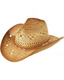 Bead Embellished Straw Cowboy Hat Low Crown Hats a6a646b7eeb7