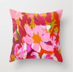 Bright Pink and Red Flower Pillow Cover. Original fabric print from my painting. Unique Bright and Colorful for summer via Etsy