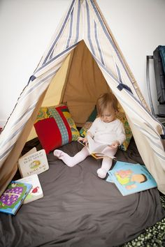 Tepee reading nook for toddlers at New Shoots Children's Centre ≈≈ http://www.pinterest.com/kinderooacademy/provocations-inspiring-classrooms/