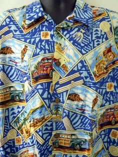 7851d9b6 Joe Kealoha Hawaiian Shirt Mens XXL Scenic Postcards Woody Car Surfing  Outrigger #JoeKealoha #Hawaiian