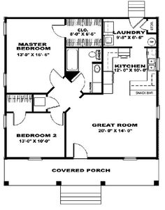 only I'd like a door through the closet to the laundry - otherwise you have to carry the laundry all the way around. two bedroom house plans 2 Bedroom House Plans, Cottage House Plans, Tiny House Plans, Cottage Homes, House Floor Plans, Small House Plans Under 1000 Sq Ft, Two Bedroom Tiny House, Cabin Floor Plans Small, Small Cottage Plans