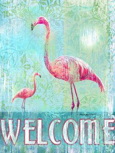 Welcome w/ Flamingos Artwork: Beach Decor, Coastal Decor, Nautical Decor, Tropical Decor, Luxury Beach Cottage Decor