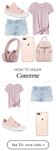 """casual pink"" by colekat on Polyvore featuring Topshop and Converse #casualsummeroutfits"