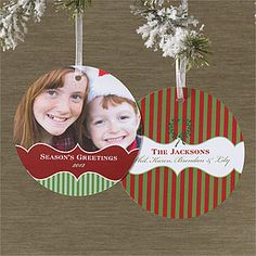 SO COOL! FINALLY a Christmas Card that stands out from the rest ... they're Christmas Cards that are also ornaments! And you can personalize them with your own photo and info! This design is called the Classic Holiday© Hanging Photo Ornament Cards from PMall ... LOVE LOVE LOVE this idea! Saves time, money and actually gives people a little gift instead of just a card they'll throw away! #Christmas #ChristmasCard #Ornament