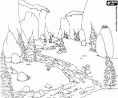 Colorear Paisaje con un río de montaña