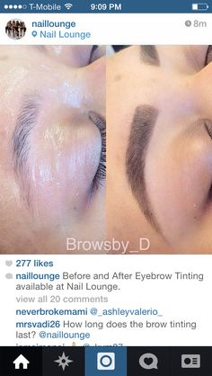 What a difference tinting your eyebrows can make! Perfect for people who have little to no eyebrows and want them to grow back in Bad Eyebrows, How To Draw Eyebrows, Perfect Eyebrows, Hd Brows, Eyebrow Shaper, Eyebrow Tinting, Eyebrow Pencil, Eyebrow Game, Eyebrow Makeup Tips