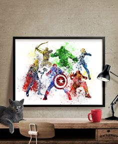 Avengers Age of Ultron, Superhero Poster, Watercolor, Art Print, Watercolor Superhero, Avengers Wall Art, Movie Poster (193)