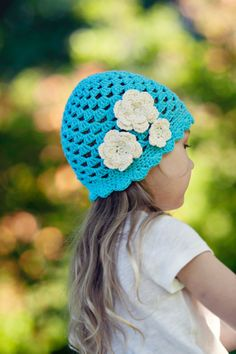 Girls Hat Child Crochet Hat Turquoise and Cream by KriksisLV, $25.00