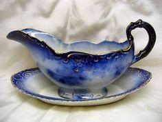 Antique Flow Blue La Belle Gravy Boat & Under Plate 2Pc for sale