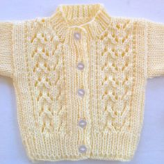 Baby cardigan  0 to 6 months  Yellow baby sweater  Baby