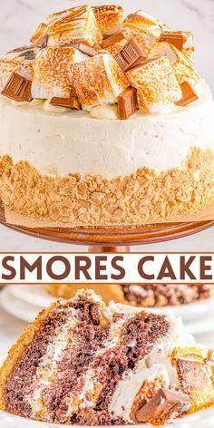 Bakers Chocolate, Hershey Chocolate Bar, Chocolate Cake, Frosting Recipes, Buttercream Frosting, Marshmallow Buttercream, Round Cake Pans, Round Cakes, Graham Cracker Crust