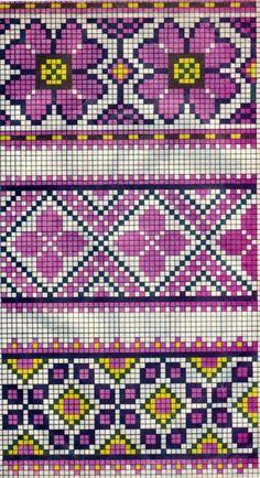 Scheme of Ukrainian embroidery (for tapestry crochet) Cross Stitch Borders, Cross Stitch Flowers, Cross Stitch Charts, Cross Stitch Designs, Cross Stitch Embroidery, Embroidery Patterns, Cross Stitch Patterns, Tapestry Crochet Patterns, Fair Isle Knitting Patterns