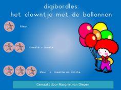 clowntje met ballonnen  Doel:  Kritisch luisteren  Kleuren herkennen  Oefenen van begrippen meeste en minste  Kunnen sorteren op twee kenmerken