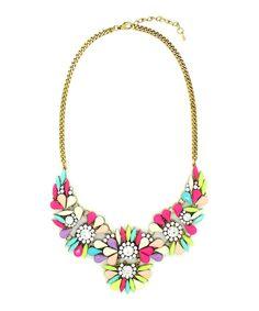Gold & Pink Crissy Bib Necklace