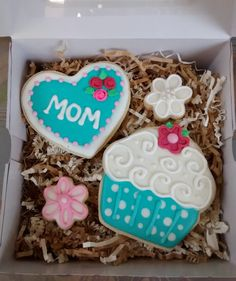 Mother's day sugar cookies heart,cupcake,flowers,royal icing