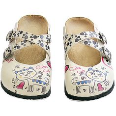Crisscrossing straps and an artistic motif bring pretty personality to this comfy pair of slip-on shoes. Cat Shoes, Slip On Mules, Cat Pattern, Palm Beach Sandals, Mules Shoes, Clogs, Streetwear Brands, Take That, Luxury Fashion