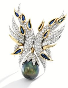 PLATINUM, 18 KARAT GOLD, CULTURED PEARL, DIAMOND, RUBY AND ENAMEL 'AILES' BROOCH, SCHLUMBERGER FOR TIFFANY & CO., FRANCE