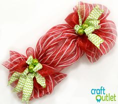 Christmas candy decoration made out of deco mesh