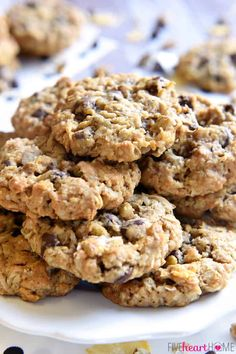 Cowboy Cookies are soft, chewy, and totally addictive, loaded with a variety of flavors and textures -- from oats and coconut to chocolate chips and pecans! Ww Desserts, Cookie Desserts, Cookie Recipes, Dessert Recipes, Healthy Desserts, Italian Desserts, Healthy Cookies, Cookie Bars, Delicious Desserts