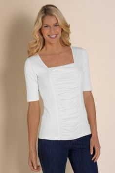 Tristan Top - Jersey Knit Tee, Ruched Tee, Womens Stretch Tee | Soft Surroundings...one of my all time favorite sites