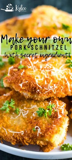 fresh take on an old favorite, this Pork Schnitzel uses a secret ingredient guaranteed to make your family drool!A fresh take on an old favorite, this Pork Schnitzel uses a secret ingredient guaranteed to make your family drool! Schnitzel Recipes, Pork Schnitzel, Meat Recipes, Chicken Recipes, Cooking Recipes, Rabbit Recipes, Cooking Food, Potato Recipes, Casserole Recipes