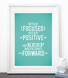 Stay Focused Positive Typographic Quote A3 Keep by TriciaODesign, $23.00