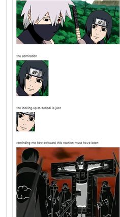 "<3 Itachi & Kakashi - ""The admiration, the looking-up-to senpai is just... reminding me how awkward this reunion must have been"""