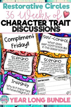 Conduct restorative circles in your classroom that are full of questions, discussion topics and scenarios. This will help build your classroom community through character education and restorative discussions around the problems that may arise day to day. Click the link below to have your students listening, discussing and learning from each other! #restorativecircles #charactertraits #circletime #charactereducation #classroomcommunity