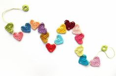 Crocheted hearts cake topper small hearts garland by eljuks, $14.00