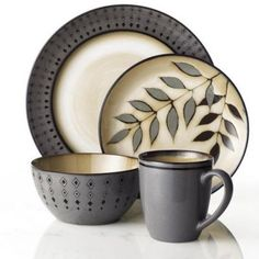 My new set of dishes! <3   Cuisinart® 'Diamond Leaf' 16-Piece Dinnerware Set - Sears | Sears Canada