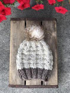 Barley Oatmeal Knit Beanie Wool Blend Wild Cat Faux Fur Pom Pom Hat Loom Knit  Hat 98d665b9e8dc