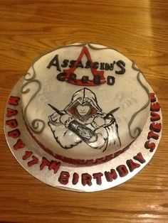 Assassins Creed theme birthday cake. Freehand artwork!