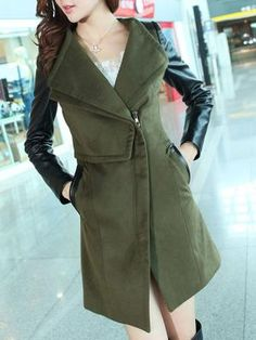 Army Green Longline Coat with Contrast