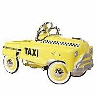 This yellow cab with the classic retro sad-face harks back to a by-gone era of taxis, complete with checkered detailing. Just like the originals, our pedal car is made of heavy gauge steel and is ready for hours of play. Standard features include chrome-trimmed windshield, chrome hood ornament, chrome steering wheel and chrome hub caps. Adjustable pedals. Overall Dimensions: 36 inches in length, 15.5 inches in width.