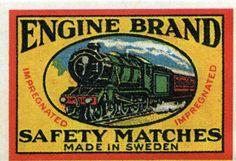 Engine Brand Matchbox Cover - Made in Sweden Vintage Labels, Vintage Ads, Logo Vintage, Train Drawing, Book Labels, Matchbox Art, Vintage Cycles, Match Making, Label Design